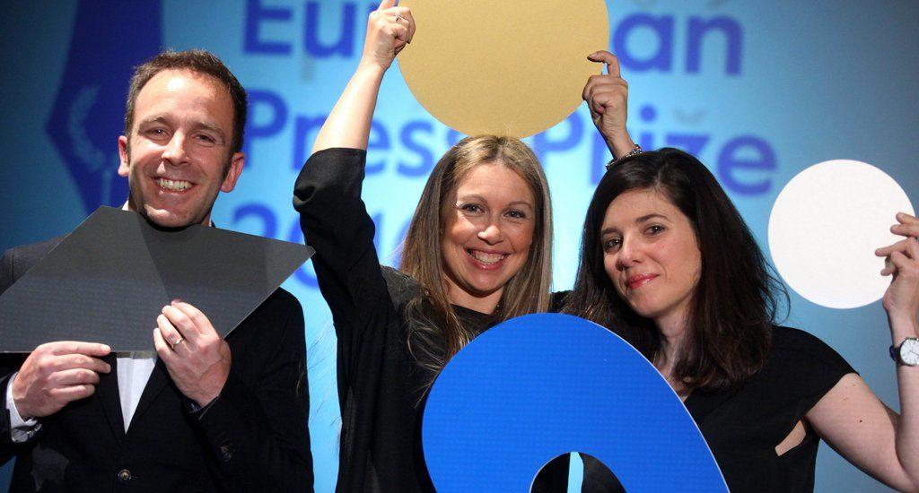 Raquel Moleiro, Hugo Franco, Joana Beleza, winners of the innovation award 2016