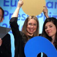Raquel Moleiro, Hugo Franco, Joana Beleza, winners of the innovation award